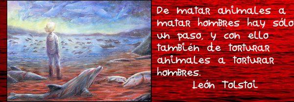 delfines sangrando y niño con frase de Tolstoi