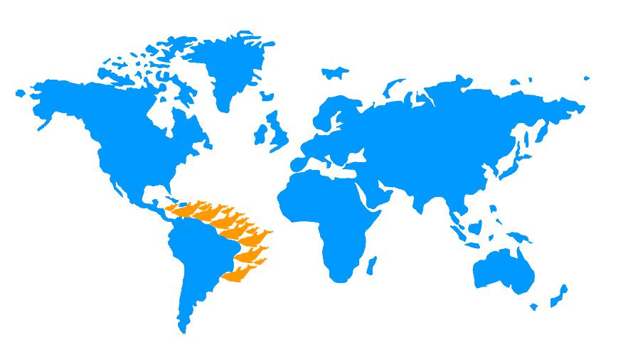 Mapa distribución Delfín costero, Sotalia guianensis