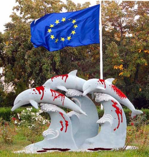 bandera de la UE y delfines 01